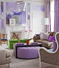 living room furnishings in green and purple color