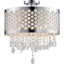 artiva usa catalyn 4 light chrome crystal flush mount chandelier