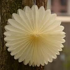 White Paper Flower Garland 8 Inch White Paper Fan Foldable Paper Fan Decoration Flower Garland