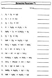 unbalanced chemical equations worksheet