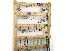 Jewelry Wall Organizer Earring Holder Jewelry Organizer Hanging Wood Basswood 2