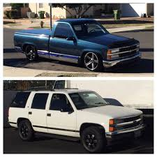 88 Chevy on Black Iroc 20in wheels and 98 Chevy Tahoe on 16in ...