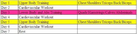 body for life workout sheets