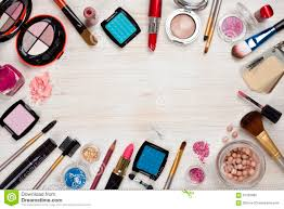 royalty free stock photo makeup s on wooden background with copy e in center