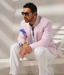john abraham in professional cool look in pink suit hd images