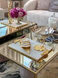 Coffee table tray, tray centerpiece, vanity tray, gold mirror tray, bathroom organizer, decorative tray for bedroom, multiple uses. Long Slim Gold Metal Leaf Tray Inspire Me Home Decor