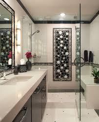san go black and white bathroom art with textured border tiles contemporary chrome showerhead dark wood