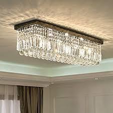 rectangular ceiling light. Siljoy L40\u0026quot; Rectangular Raindrop Crystal Chandelier Lighting Modern Flush Mount Ceiling Light Fixture Amazon.com