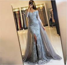 Arabic Pageant Grey Prom Dresses 2019 New Elegant Off Shoulders Appliqued Beaded Long Sleeves Plus Size Women Formal Evening Party Gowns 108 Xscape