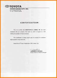 Sample Of Employment Certificate Cool Sample Professional Employment