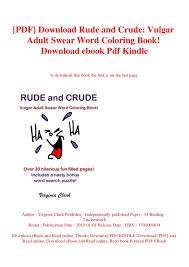 Pdf Download Rude And Crude Vulgar Adult Swear Word Coloring Book