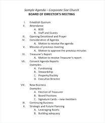 Sample Of Agenda Sample Board Meeting Agenda Template