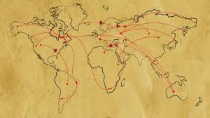 Animated Travel Map Map Of The World On Old Paper With Flat Animated Retro Planes And Flight Trajectories Lot Or Arcs And Lines Connecting Points Global Air Travel Concept Seamless Loop With Alpha Channel