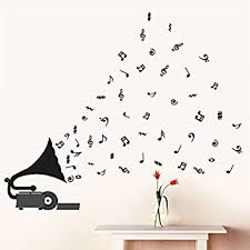 Small Picture Buy Decals Design Gramophone with Musical Notes Wall Sticker