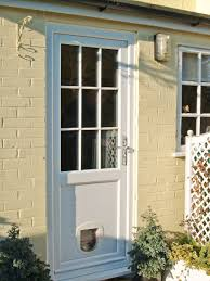 cream pvcu door with cat flap