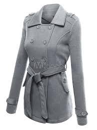 women pea coat long sleeve turndown collar sash grey winter trench coat no 1