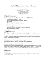 Medical Administrative Assistant Resume Objective Medical