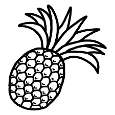 パイナップル白黒果物食べ物無料イラスト素材