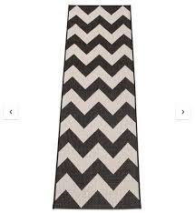 2 x very grey black chevron runners rugs 67x200cm
