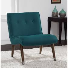 Mid Century Blue Teal Armless Chair (Linen)