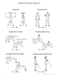 chest and arm workout with weights
