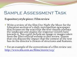 outcome creating presenting context the imaginative  13 sample assessment task expository style piece film review
