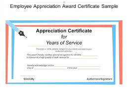 Employee Appreciation Award Certificate Sample Ppt