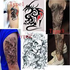 1 лист волк тигр дракон тело искусство временная женская мужская татуировка