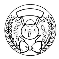 うさぎメダル帽子人参線画塗り絵イラスト No 885229無料イラスト