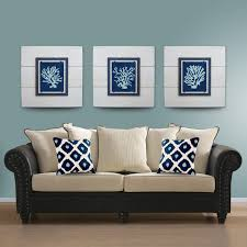 wall art ideas design multiple panels wall art set of three white background contemporary blue comfortable luxurious sofa fabric botanical fascinating
