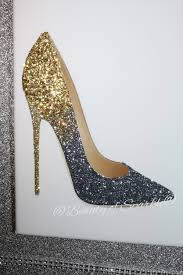 uniquely customized by d bishop  on shoe wall art high heels with glitter jimmy choo shoe canvas picture wall art