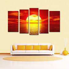 5 panel magnificent sunrise scene canvas prints wall art modern decor paintings giclee artwork for living room and bedroom sunrise paintings paintings