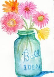 gerbera daisies in aqua canning jar watercolor painting 5 x 7 original still life