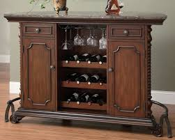 Traditional Marble Topped Bar Back View with Wine Rack Coaster Furniture t=