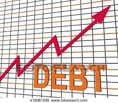 Chart Showing Increase Debt Graph Chart Shows Increase Financial Indebted Stock