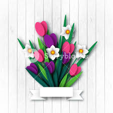 Spring Flower Template Paper Cut Spring Flowers Tulip And Narcissus Template For Greeting