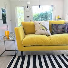yellow living room furniture. Velvet Yellow Sofa In The Annex Of Interior Designer Sophie Robinson. Black And White Monochrome Living Room Furniture S