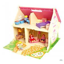 Casa delle bambole villa in legno con personaggi e mobili cm 51 x