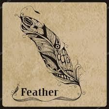 Ručně Tažené Tetování Pírko Stock Vektor Makarovaalex 44704403