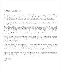 Letters Of Recommendation For Educators Reference Letter For Teacher From Parent Ooxxoo Co