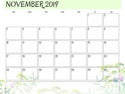 November November Calendar Cute November 2019 Calendar Design Template Printable