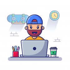 Hombre que trabaja en la ilustración del icono del ordenador portátil.  trabajar desde casa mascota personaje de dibujos animados. concepto de icono  de personas aislado | Vector Premium