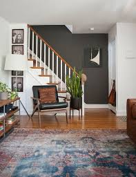 persian rug gray wall living room