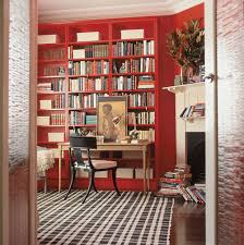 red black home office. Masculine-home-office-study-red-joinery-shelving-faux- Red Black Home Office I