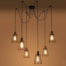 new e27 industrial retro vintage adjule huge chandelier diy cage 6 heads pendant ceiling light lamp
