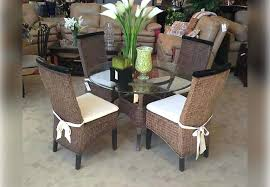 round table with chairs that fit under antique brown wicker round dining table and four side