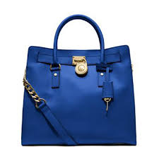MICHAEL Michael Kors Leather Gold Hardware Satchel Shoulder Lock And Key  Tote in Electric Blue ...