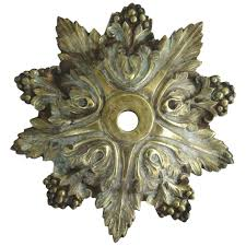 vintage brass chandelier ceiling canopy with acanthus leaf and berry motif to expand