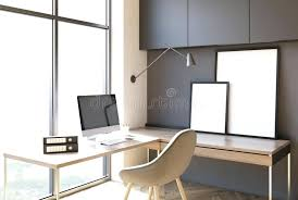 dark gray home office loft home office interior with dark gray walls two desks a computer