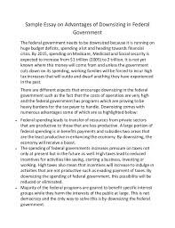 sample essay on advantages of downsizing in federal government sample essay on advantages of downsizing in federal government the federal government needs to be downsized